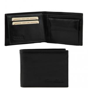 Tuscany Leather TL140763 Elégant portefeuille en cuir pour homme avec 3 volets et porte monnaie Noir