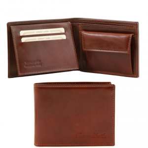 Tuscany Leather TL140763 Exclusive leather 3 fold wallet for men with coin pocket Brown