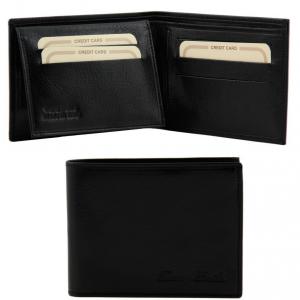 Tuscany Leather TL140760 Elégant portefeuille en cuir pour homme 3 volets Noir