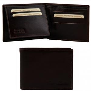 Tuscany Leather TL140760 Elégant portefeuille en cuir pour homme 3 volets Marron foncé