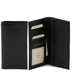 Tuscany Leather TL140777 Exclusive vertical 2 fold leather wallet for men Black