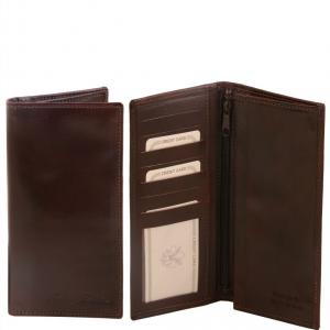 Tuscany Leather TL140777 Elégant portefeuille vertical en cuir avec 2 volets Marron foncé