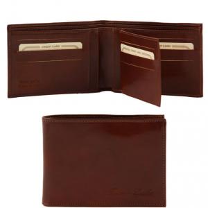 Tuscany Leather TL140817 Elégant portefeuille en cuir pour homme 3 volets Marron