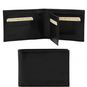 Tuscany Leather TL140817 Elégant portefeuille en cuir pour homme 3 volets Noir