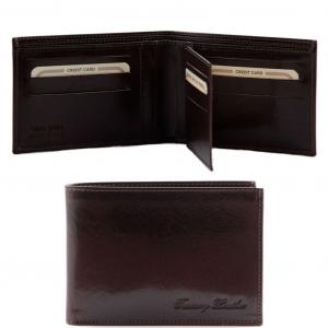 Tuscany Leather TL140817 Elégant portefeuille en cuir pour homme 3 volets Marron foncé