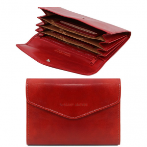 Tuscany Leather TL140786 Exclusive leather accordion wallet for women Red