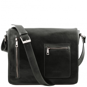 Tuscany Leather TL141650 TL Messenger - Leather double compartment laptop shoulder bag Black