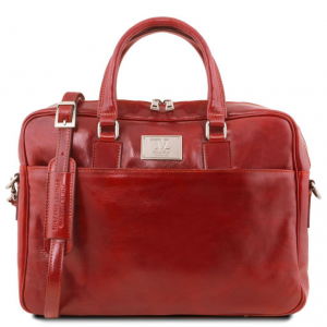 Tuscany Leather TL141241 Urbino - Leather laptop briefcase with front pocket Red