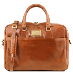 Tuscany Leather TL141241 Urbino - Leather laptop briefcase with front pocket Honey