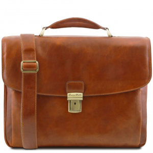 Tuscany Leather TL141448 Alessandria - Leather multi compartment TL SMART laptop briefcase Honey