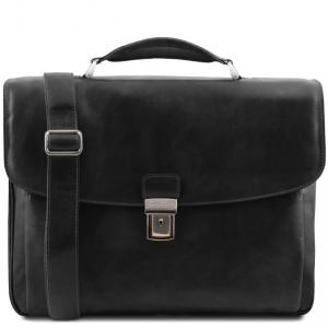 Tuscany Leather TL141448 Alessandria - Cartella Porta notebook TL SMART multiscomparto in pelle Nero