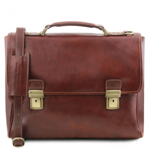 Tuscany Leather TL141662 Trieste - Exclusive leather laptop case with 2 compartments Brown