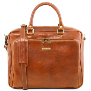 Tuscany Leather TL141660 Pisa - Leather laptop briefcase with front pocket Honey
