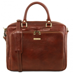 Tuscany Leather TL141660 Pisa - Cartella in pelle porta notebook con tasca frontale Marrone