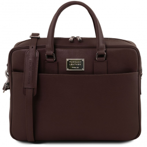 Tuscany Leather TL141627 Urbino - Saffiano leather laptop briefcase with front pocket Dark Brown