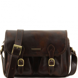 Tuscany Leather TL10180 San Marino - Travel leather bag with pockets on the front side Dark Brown