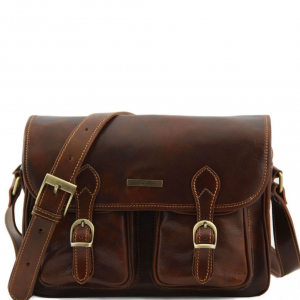 Tuscany Leather TL10180 San Marino - Travel leather bag with pockets on the front side Brown