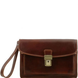 Tuscany Leather TL8075 Max - Leather handy wrist bag Brown