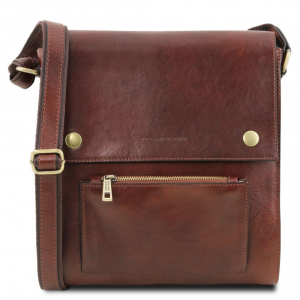 Tuscany Leather TL141656 Oliver - Leather crossbody bag for men with front pocket Brown