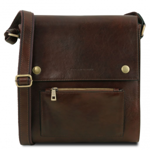 Tuscany Leather TL141656 Oliver - Leather crossbody bag for men with front pocket Dark Brown