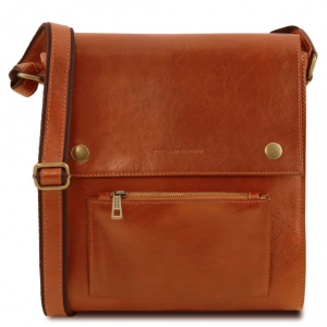 Tuscany Leather TL141656 Oliver - Leather crossbody bag for men with front pocket Honey