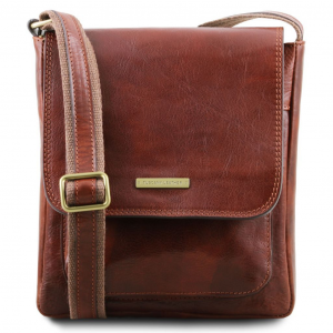 Tuscany Leather TL141407 Jimmy - Leather crossbody bag for men with front pocket Brown