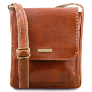 Tuscany Leather TL141407 Jimmy - Leather crossbody bag for men with front pocket Honey
