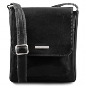Tuscany Leather TL141407 Jimmy - Leather crossbody bag for men with front pocket Black