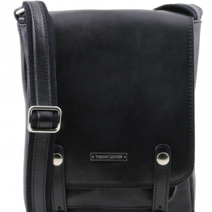 Tuscany Leather TL141406 Roby - Leather crossbody bag for men with front straps Black