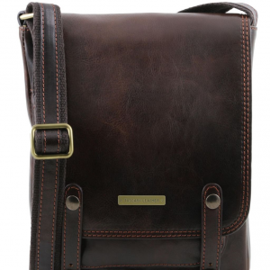 Tuscany Leather TL141406 Roby - Sac pour homme en cuir avec boucles Marron foncé
