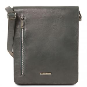Tuscany Leather TL141723 Cesare - Borsa a tracolla in pelle morbida Grigio