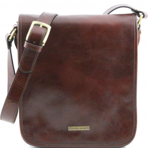 3ad5add7f1 Tuscany Leather TL141255 TL Messenger - Two compartments leather shoulder bag  Brown