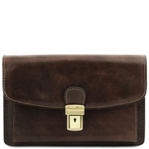 Tuscany Leather TL141444 Arthur - Elégante pochette en cuir pour homme Marron foncé