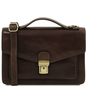 Tuscany Leather TL141443 Eric - Leather Crossbody Bag Dark Brown