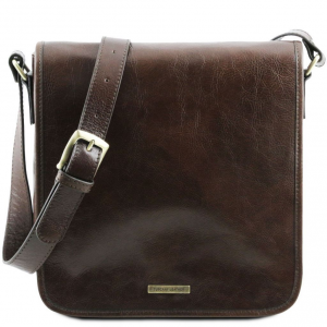 Tuscany Leather TL141260 TL Messenger - One compartment leather shoulder bag Dark Brown