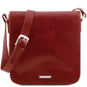 Tuscany Leather TL141260 TL Messenger - Sac bandoulière en cuir 1 compartiment Rouge
