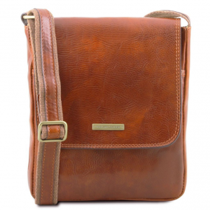 Tuscany Leather TL141408 John - Leather crossbody bag for men with front zip Honey
