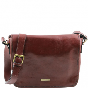 Tuscany Leather TL141301 TL Messenger - Sac bandoulière en cuir 1 compartiment - Taille moyenne Marron