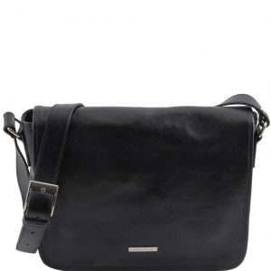 Tuscany Leather TL141301 TL Messenger - One compartment leather shoulder bag - Medium size Black