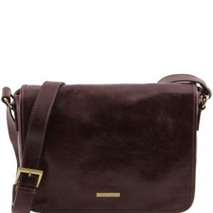 Tuscany Leather TL141301 TL Messenger - Sac bandoulière en cuir 1 compartiment - Taille moyenne Marron foncé