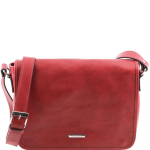 Tuscany Leather TL141301 TL Messenger - Sac bandoulière en cuir 1 compartiment - Taille moyenne Rouge