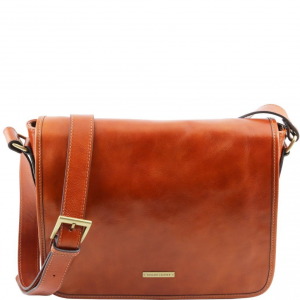 Tuscany Leather TL141301 TL Messenger - One compartment leather shoulder bag - Medium size Honey