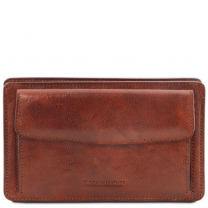 Tuscany Leather TL141445 Denis - Exclusive leather handy wrist bag for man Brown