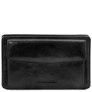 Tuscany Leather TL141445 Denis - Exclusive leather handy wrist bag for man Black