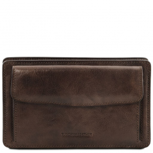 Tuscany Leather TL141445 Denis - Exclusive leather handy wrist bag for man Dark Brown