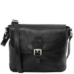Tuscany Leather TL141278 Jody - Leather shoulder bag with flap Black