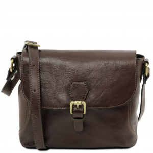 Tuscany Leather TL141278 Jody - Leather shoulder bag with flap Dark Brown