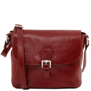 Tuscany Leather TL141278 Jody - Leather shoulder bag with flap Red