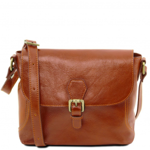 Tuscany Leather TL141278 Jody - Leather shoulder bag with flap Honey