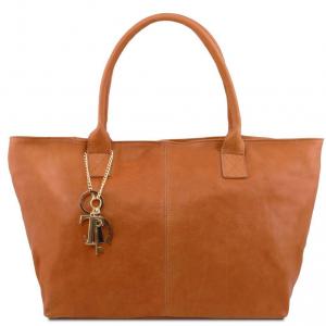 Tuscany Leather TL141207 TL KeyLuck - Leather shoulder bag Cognac